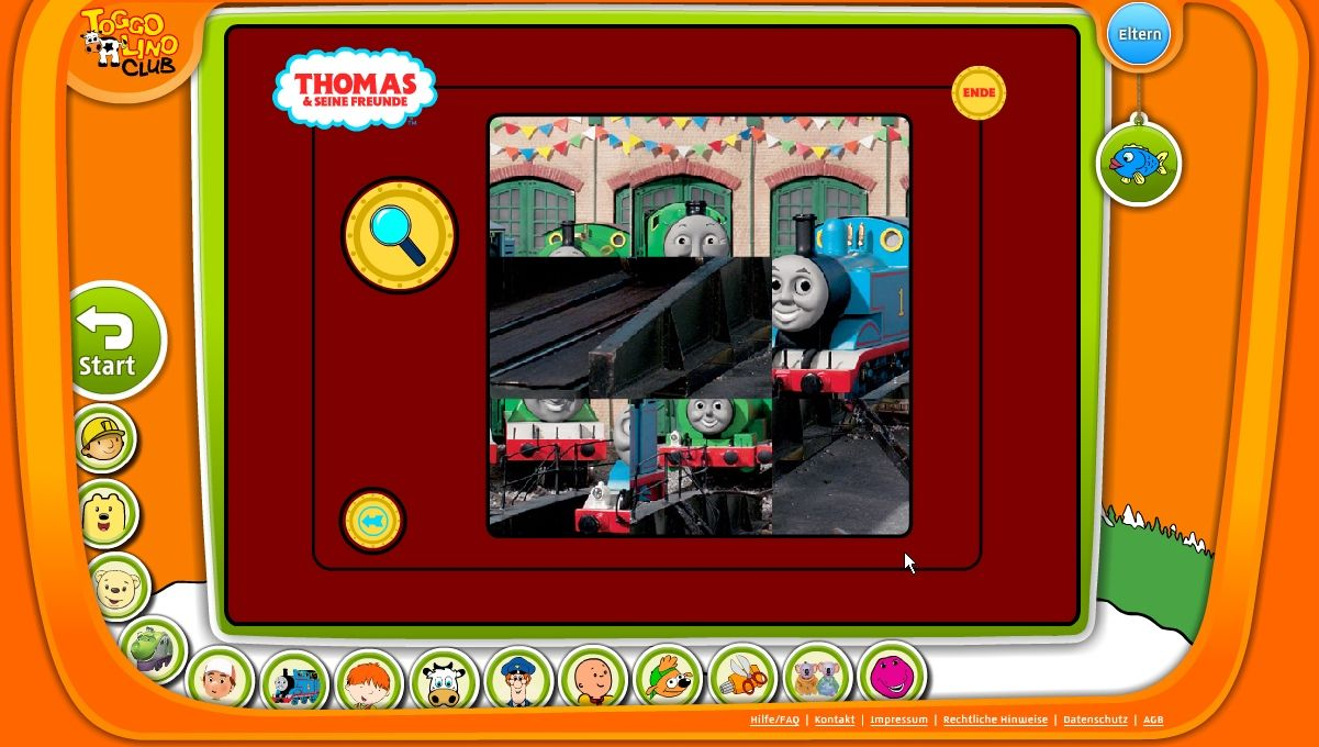 TOGGOLINO CLUB Browser Thomas and Friends: doing a jigsaw puzzle.