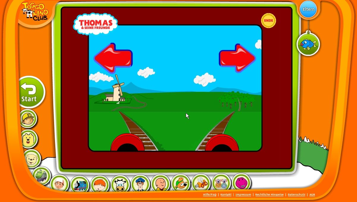 TOGGOLINO CLUB Browser Thomas and Friends: in this game the kiddies have to memorize several locations that Thomas must pass to reach his destination.