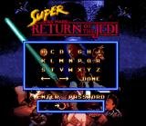 Super Star Wars: Return of the Jedi SNES Password screen. Reassume your current game here.