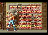 """Fatal Fury Neo Geo Ranking """"Best Players"""" screen with default scores and Terry Bogard seeing a big tournament poster."""