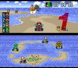 Super Mario Kart SNES Mario commemorating his 1st position.