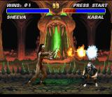 Mortal Kombat 3 SNES Only ducking, Kabal got to avoid Sheeva's fireball.