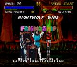 Mortal Kombat 3 SNES Nightwolf's Rayden/MK II Arcade Machine Friendship and Sektor's victory pose: an unusual moment...