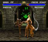 Mortal Kombat 3 SNES Taking advantage of Motaro's fast distraction, Sheeva hits him with a potent roundhouse kick.