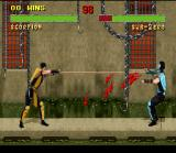 Mortal Kombat II SNES Scorpion solves some personal differences with Sub-Zero using his sharp-blooding harpoon.
