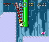 Super Mario World SNES Using the Super Star, Mario finds a fast way to pick lots of lives in Donut Secret 2!