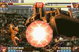 The King of Fighters EX2: Howling Blood Game Boy Advance Attempting to defend from Bao's SDM Psycho Ball Attack, Choi Bounge assumes the guard position.