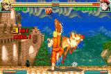 Super Street Fighter II: Turbo Revival Game Boy Advance Ken applying a flaming 3-hit combo in Cammy with his Shoryuken.