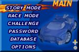 Hot Wheels: Velocity X Game Boy Advance Main menu.