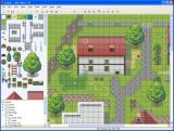 RPG Maker XP Windows Sample editor view of a map with a rural town.