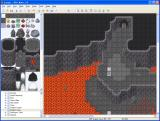RPG Maker XP Windows An uncomfortable looking place, a map created using a cave tileset, including gloomy lava.