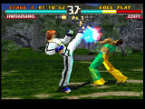 Tekken 3 PlayStation Hwoarang takes Eddy by surprise with a fast bituro chagi.