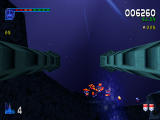 Galaga: Destination Earth PlayStation Europa Level - Gun Turret control view waiting for aliens to come in range.