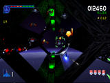 Galaga: Destination Earth PlayStation Orbit Level Gun Turret view - Taking out aliens.