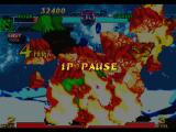 Marvel vs. Capcom: Clash of Super Heroes PlayStation Combat paused during Hulk's Gamma Crush execution: its damage went too much for Strider Hiryu...