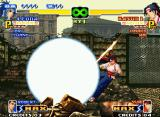The King of Fighters 2000 Neo Geo Some time after its activation, Leona Heidern's Moon Slasher hit-slashes Kasumi Todo successfully!