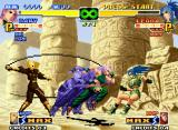 The King of Fighters 2000 Neo Geo Assisted by Whip's striker move Valkyrie Killer, Mary tries to DM-hit Leona with her M. Splash Rose.
