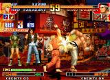 The King of Fighters '97 Neo Geo With Goro Daimon's guard totally open, Ryo Sakazaki hit-attacks him using his move Mouko Raijin Gou!