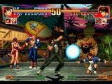 The King of Fighters '97 PlayStation Sie Kensou using his projectile-based move Choukyuu Dan to stop Kyo Kusanagi's 910 Shiki: Nue Tsumi.
