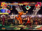 The King of Fighters '97 PlayStation Meanwhile, Athena Asamiya is about to be struck-damaged by Ryo Sakazaki's move Mouko Raijin Setsu...
