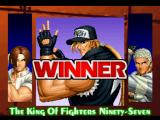 The King of Fighters '97 PlayStation Post-match screen.