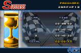 Motocross Challenge Game Boy Advance Results after the race, the password is shown in the top right corner.
