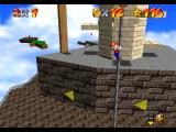 Super Mario 64 Nintendo 64 Hanging from a column in Whomp's Fortress