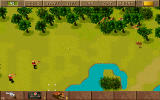 Jagged Alliance DOS Enemies ahead! Take cover behind trees and aim your weapons.