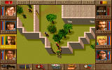 Jagged Alliance DOS After we blew a hole into the wall and climbed through, an enemy soldier attacks with a knife.