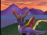Spyro the Dragon PlayStation Looking at the beautiful violet mountains on the other side of the river