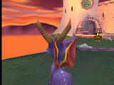 """Spyro the Dragon PlayStation Gazing at the beautiful sunset on the level """"Toasty"""", together with a nasty magician (or whoever he is), who can beat me with his staff"""