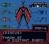 Batman Beyond: Return of the Joker Game Boy Color In-game menu