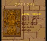The Adventures of Tintin: Prisoners of the Sun SNES Options menu