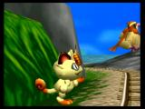 Pokémon Snap Wii A picture of a Meowth in pursuit.