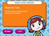 Cooking Mama: Mama Kills Animals Windows Instructions on mashing the tofu.