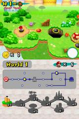 New Super Mario Bros. Nintendo DS You progress through the levels like in Mario 3 or Super Mario World. The map on the lower screen shows your progress.