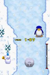 New Super Mario Bros. Nintendo DS In this minigame, you must roll the snowman's head quickly while avoiding obstacles.
