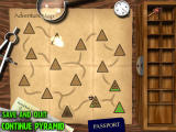 Mummy Maze Deluxe Windows The world map with the fifteen pyramids.