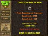 Mummy Maze Deluxe Windows Level completion screen in the Classic mode