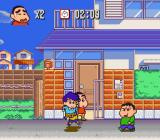 Crayon Shin-chan: Arashi o Yobu Enji SNES The game showing depth in the graphics