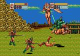 Golden Axe III Genesis Vast Field: example of a two-plater teammove; Tyris launching the barbarian