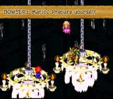 Super Mario RPG: Legend of the Seven Stars SNES Fighting Bowser. He talks trash, as usually