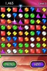 Bejeweled 2 Deluxe iPhone Tap 'Hint' for a tip on where to go next.