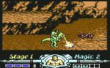 Golden Axe Commodore 64 Axe rides a dragon and extinguishes fire from it