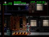 RoboCop Versus the Terminator SNES Throughout the first level, Robocop is constantly harrassed by a mysterious figure in the background with a rocket launcher, who likes to blast holes in the street