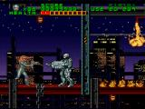 RoboCop Versus the Terminator SNES Robocop fights through an out-of-control construction site, filled with deadly traps, falling girders, flaming pipes, and yet more uzi-wielding leather chicks. ED-209's arm makes a decent weapon
