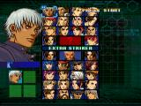 The King of Fighters: Evolution Dreamcast Character select screen: Krizalid is available without cheats.