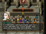 Suikoden II PlayStation A typical scene - gathering in your Strategy Room before a major battle. Teresa here shares her thoughts