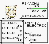 Pokémon Yellow Version: Special Pikachu Edition Game Boy Pikachu status  (on a GBC)