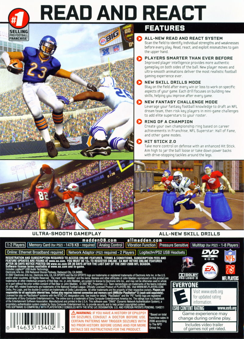 Madden NFL 08 PlayStation 2 Back Cover